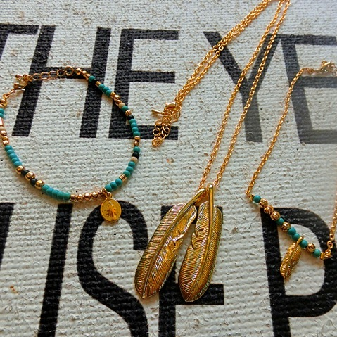Bgnee Gold×turquoise accessory3点set