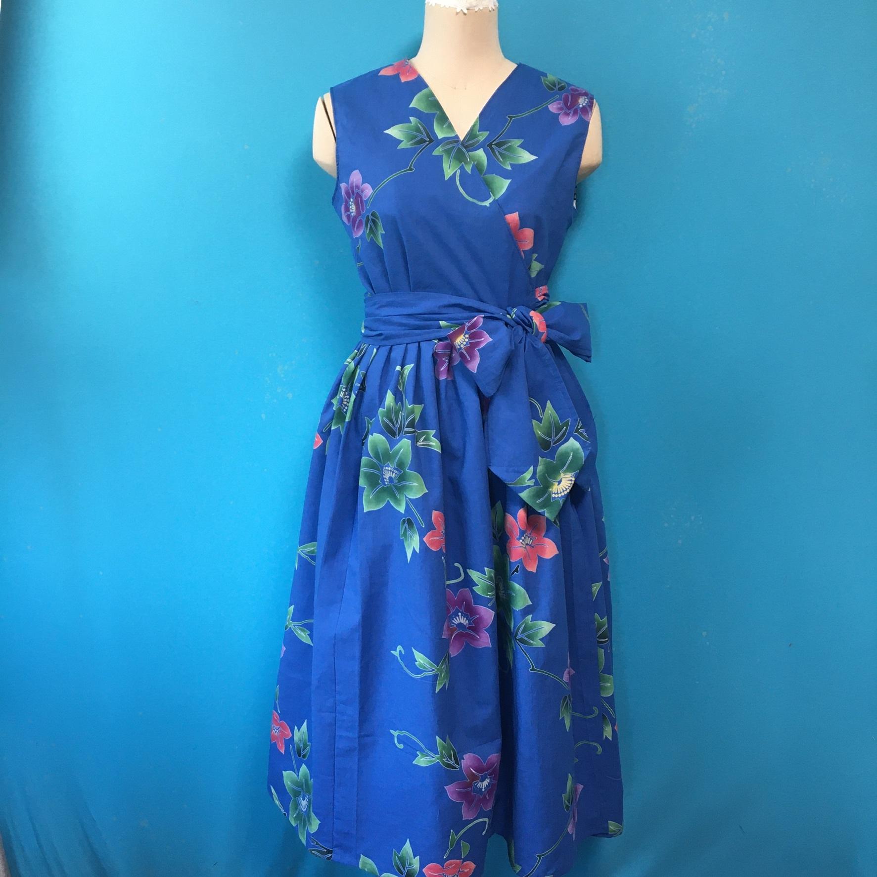Vintage 浴衣のラップドレス 青