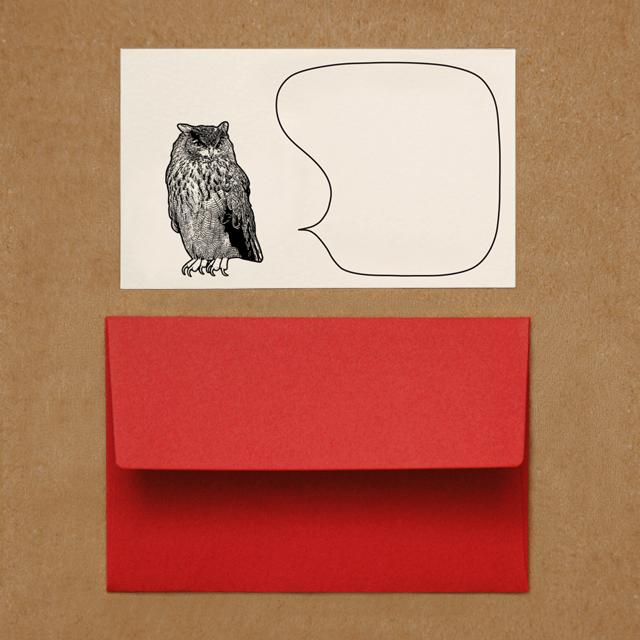封筒つきメッセージカード(ミミズク)