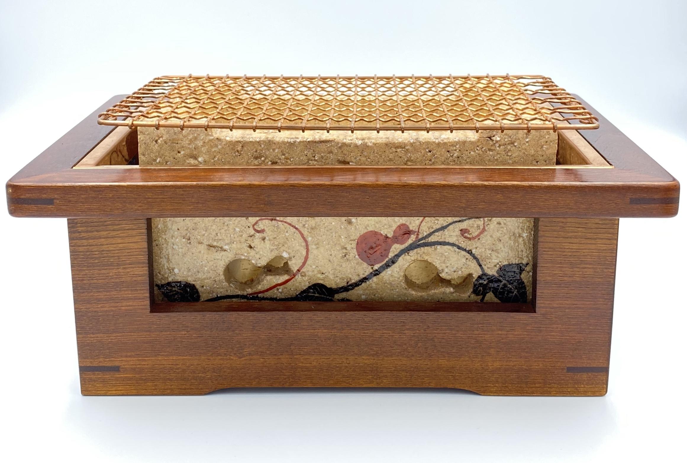 ◆受注生産◆◆色オーダーメイド対応品◆炭コンロ(瓢)木枠・銅製金網付