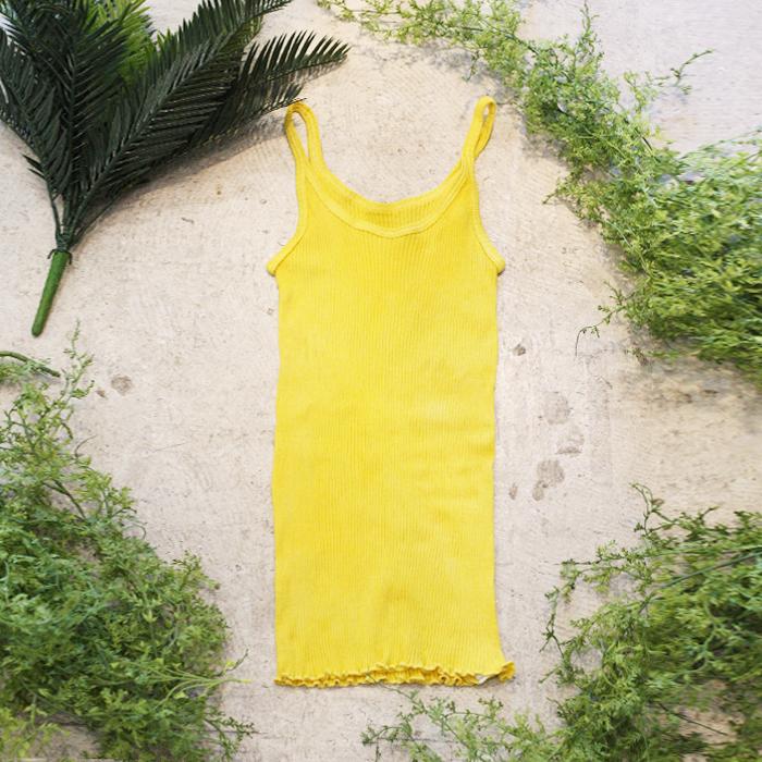 マリーゴールド染めオーガニックコットン100%リブキャミソール~黄檗色(きはだいろ)~