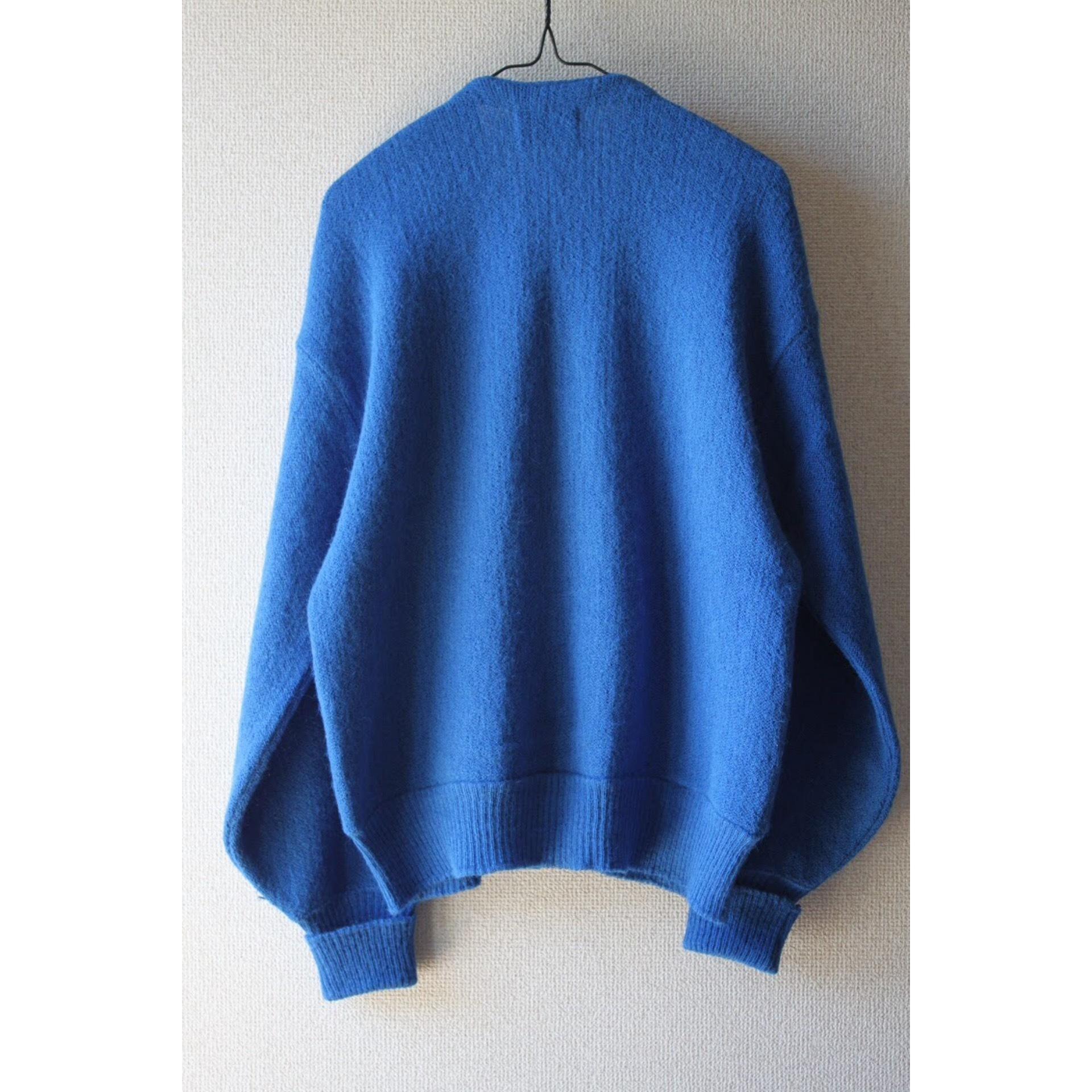 Vintage blue alpaca knit cardigan