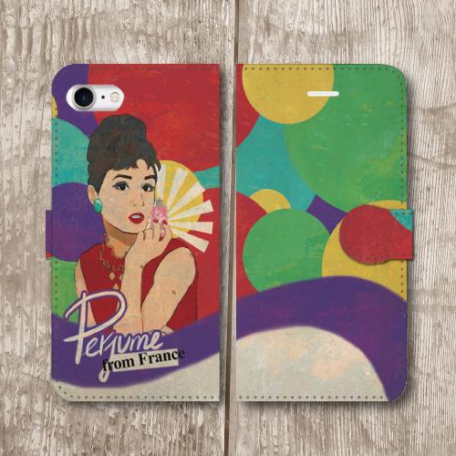 レトロポスター/アメリカンポップ/香水/ビンテージ調/レトロ/紫色/iPhoneスマホケース(手帳型ケース)