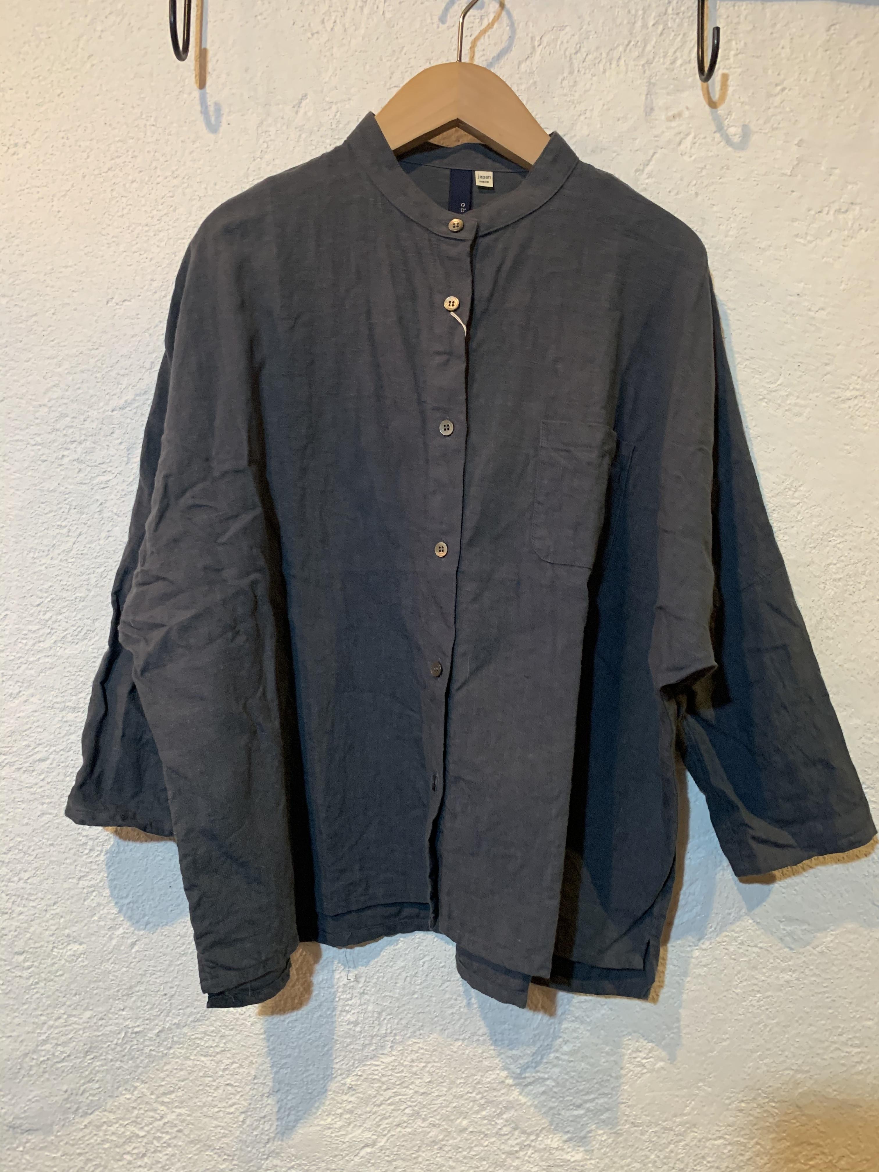 Chloro sister/リネンバンドカラーシャツ チャコール