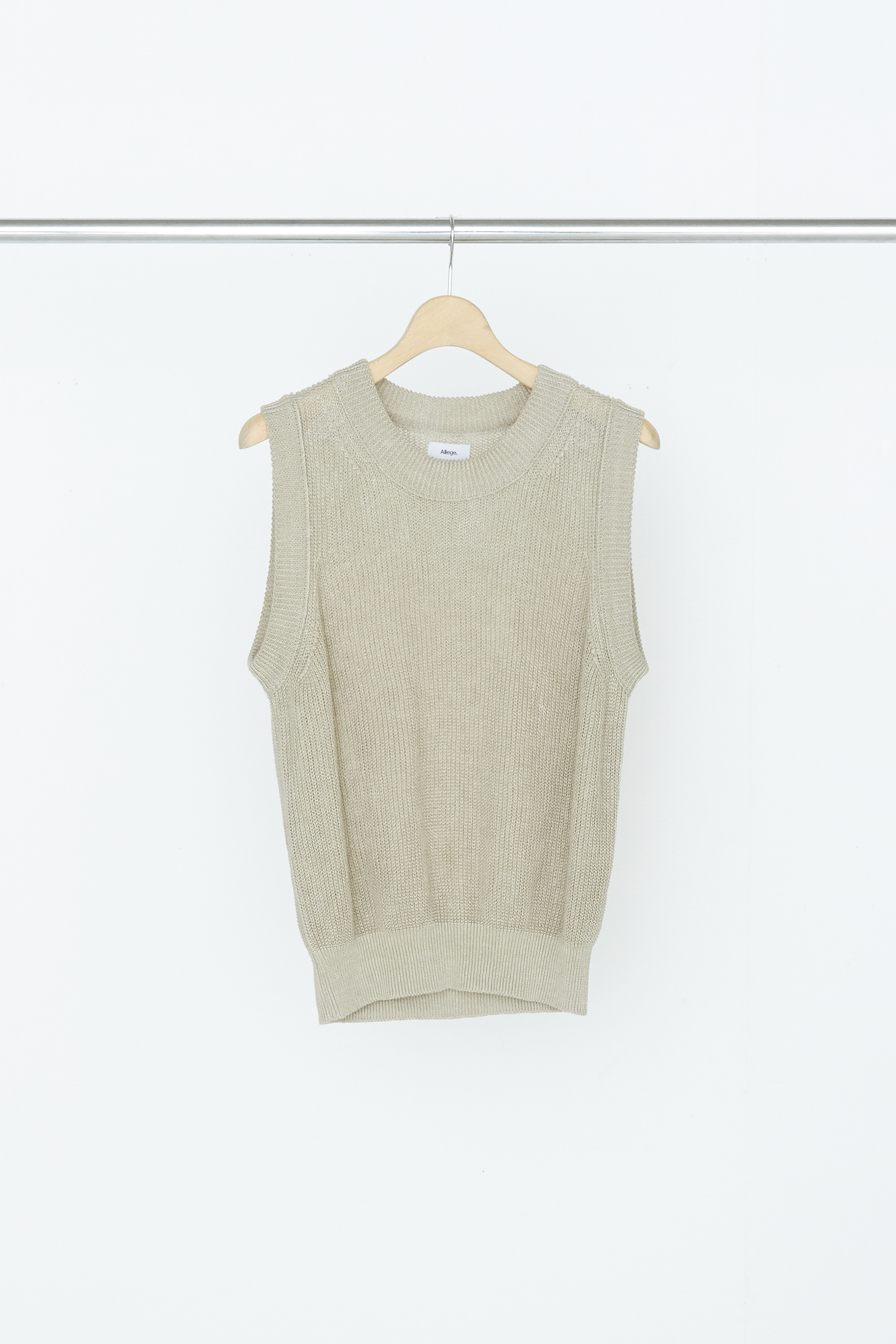 Linen Rib Knit Vest - BEIGE