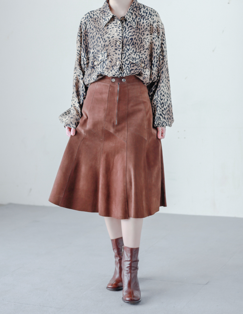 80's Leather Brown Skirt