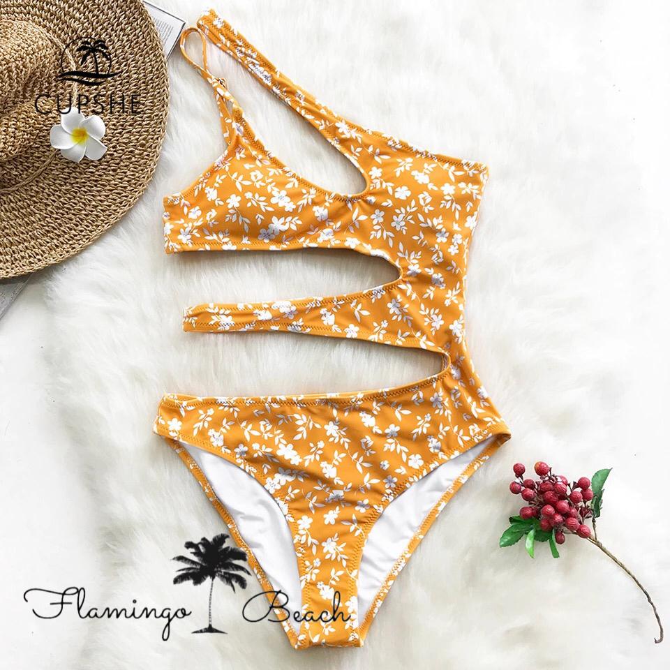 【FlamingoBeach】yellow cut mononkini