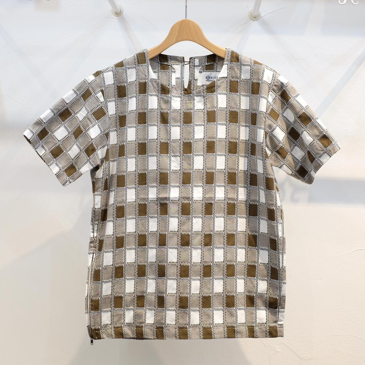 KUON(クオン) 吉野格子(柳格子) 半袖プルオーバーシャツ(カットソー) ブラウン