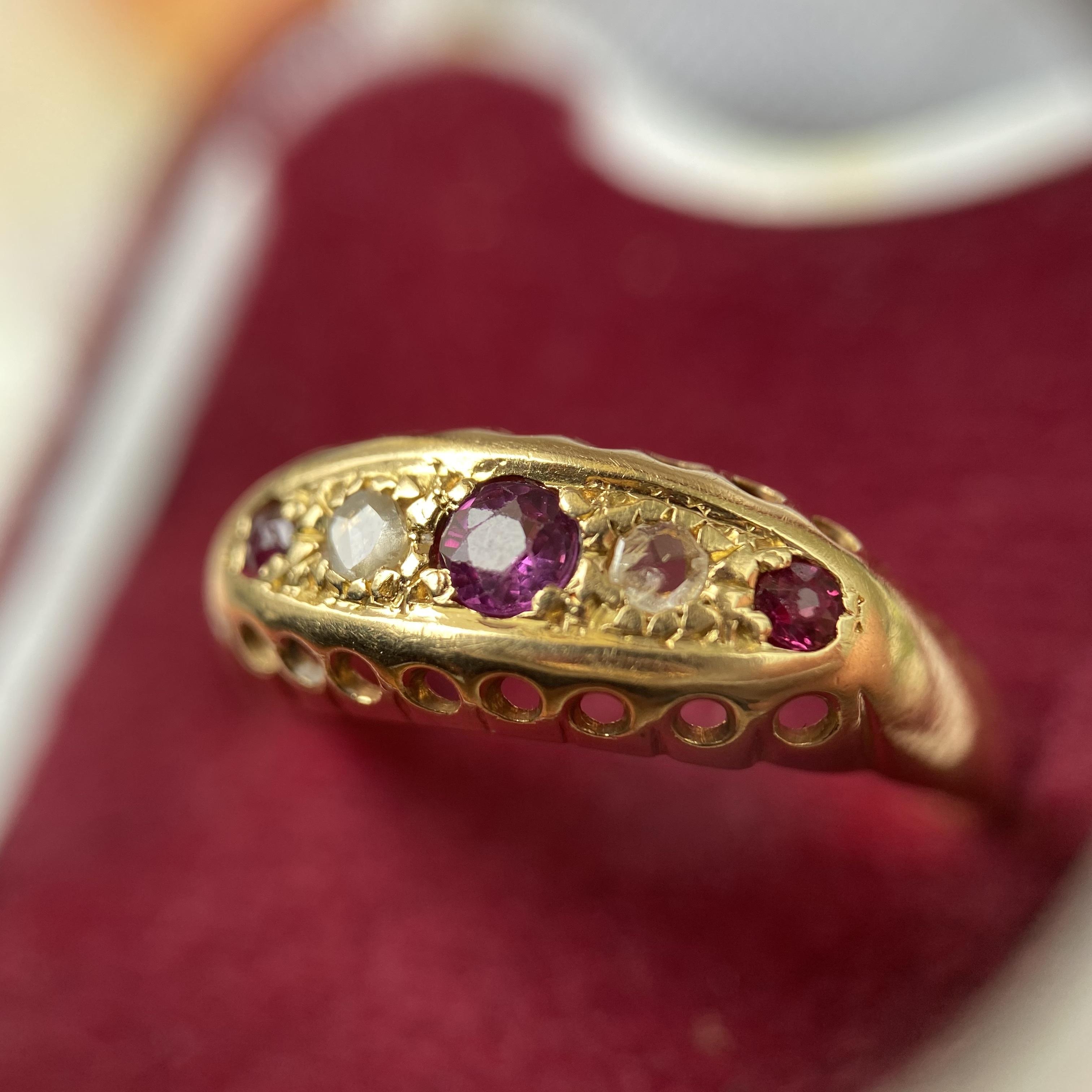 イギリス1918年製アンティークリングK18 指輪 ルビー ダイヤモンド