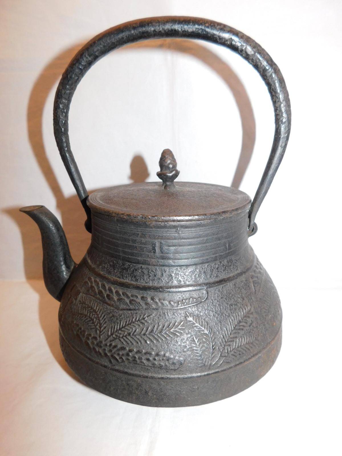鉄瓶(黑、シダ) iron kettle(black color fern)(No22)