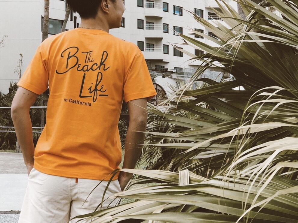 Beach Life in CAL Tシャツ(orange)