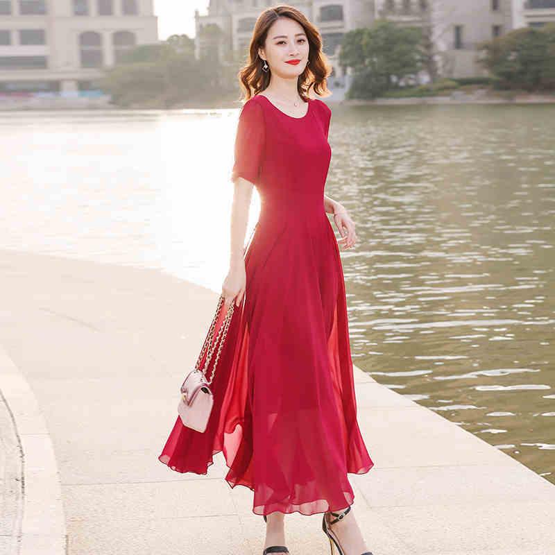 0e7d17015a070a ロングドレス 演奏会 パーティードレス 結婚式 二次会 お呼ばれ 赤 袖あり 五分袖 大きいサイズ 体型カバー Uネック 無地 シンプル 透け感  Aライン 20代 30代 d0073