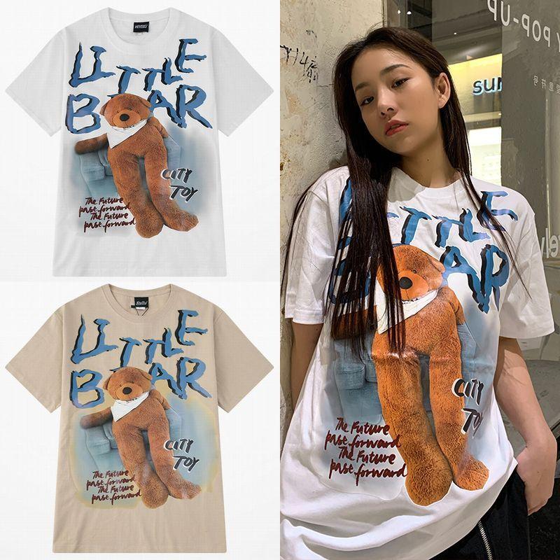 ユニセックス 半袖 Tシャツ メンズ レディース 英字 LITTLE BAER 脚長のクマちゃん バックプリント オーバーサイズ 大きいサイズ ルーズ ストリート