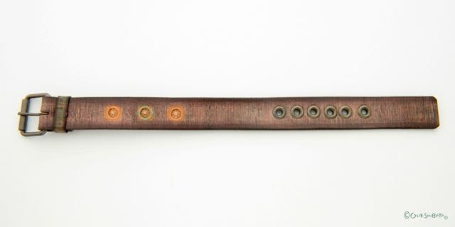 木版染革ベルトベージュ丸L