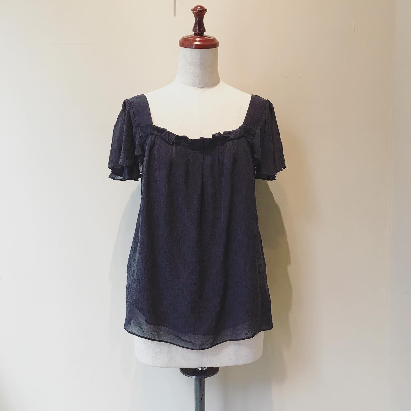 vintage silk frill sleeve top