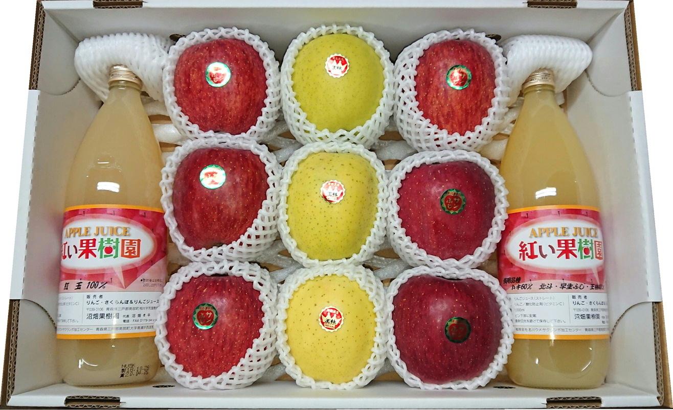 青森県三戸郡南部町産 りんご・りんごジュース詰め合わせセット【サンふじ・王林】(送料込)