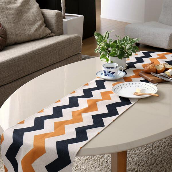 テーブルランナー ブラック オレンジ シェブロン