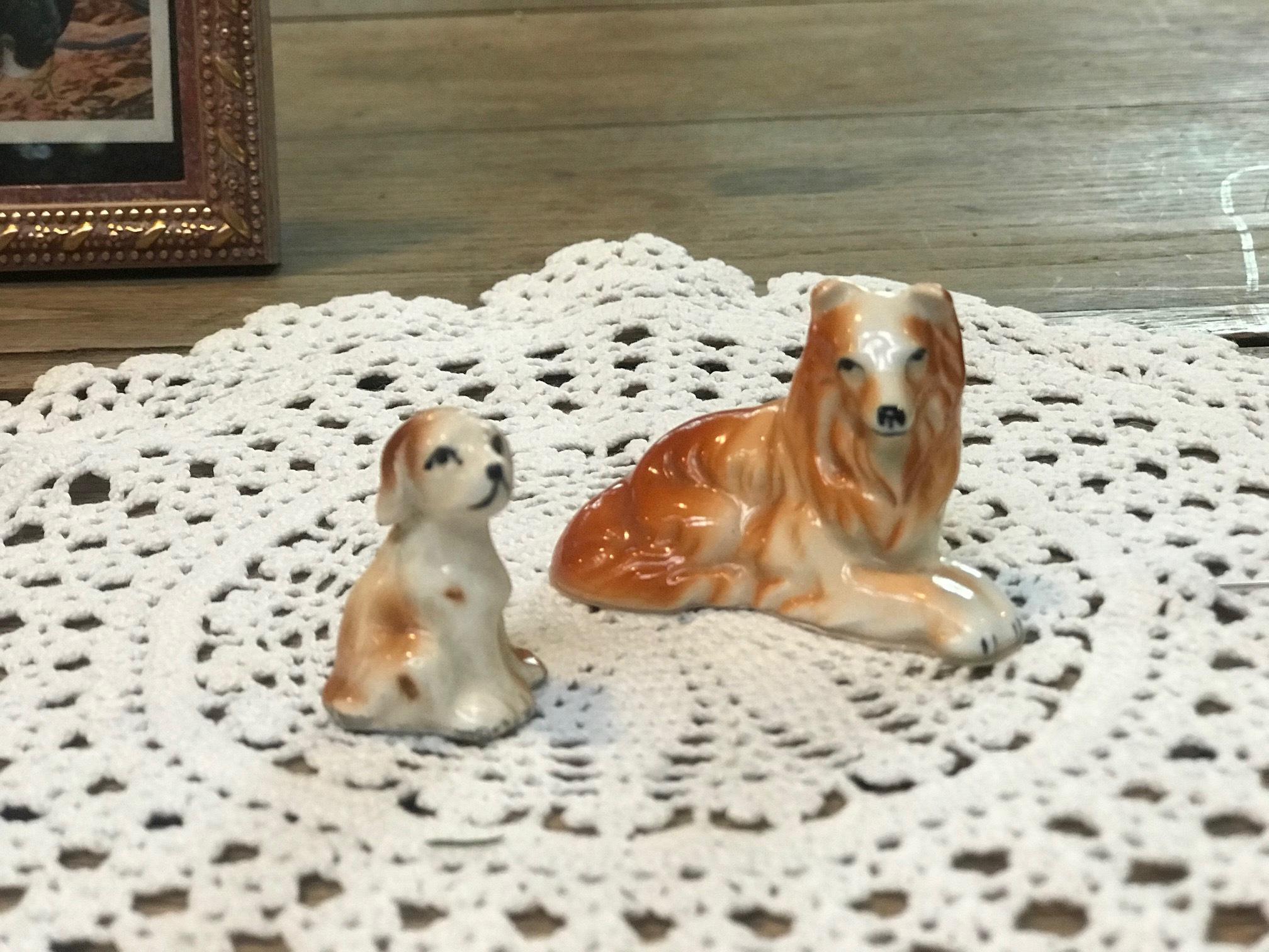 JAPAN 1960年代 陶器 人形 犬 親子セット