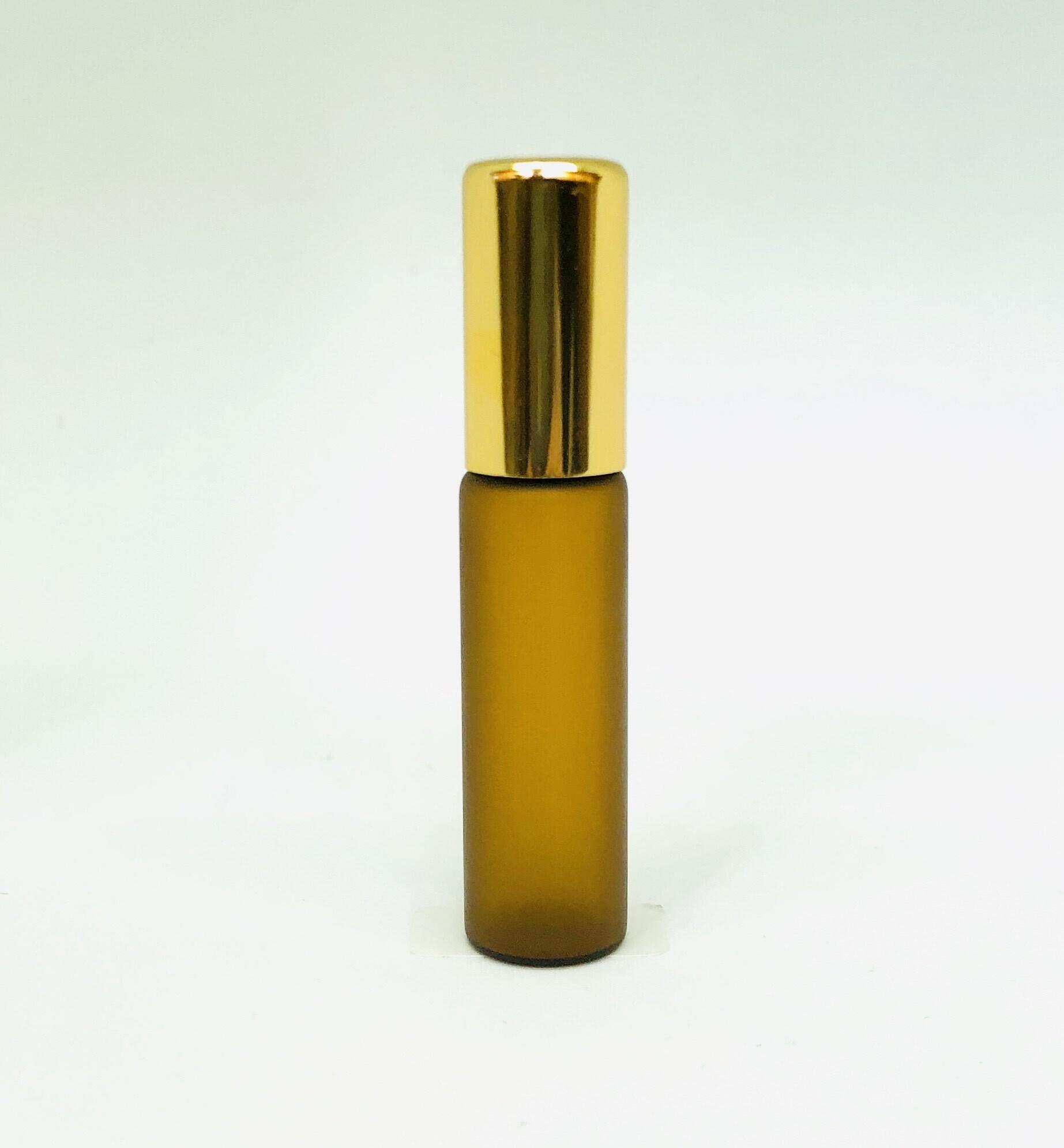 【遮光性  ロールオンボトル 】5ml ブラウン ゴールドキャップ 茶色 金色 携帯 化粧 アロマ 高級
