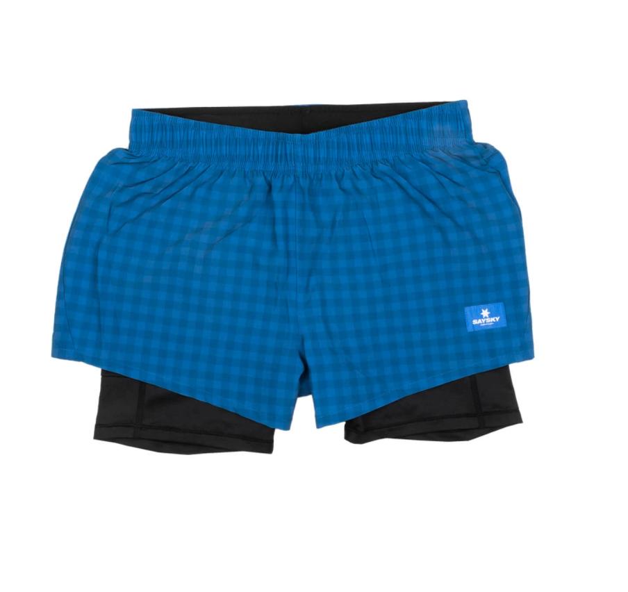 【NEW!】SAYSKY セイスカイ ランニングショーツ Wmns Checker 2 In 1 Shorts - BLUE CHECKERBOARD [レディーズ] FGRSH01