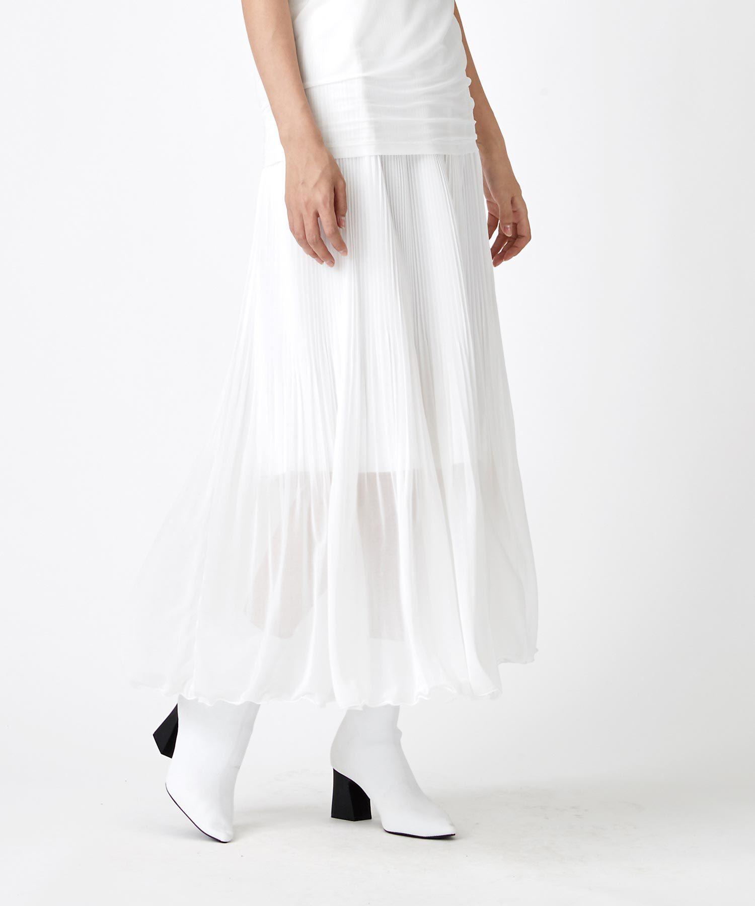 天竺素材裾消しプリーツスカート(オフホワイト)