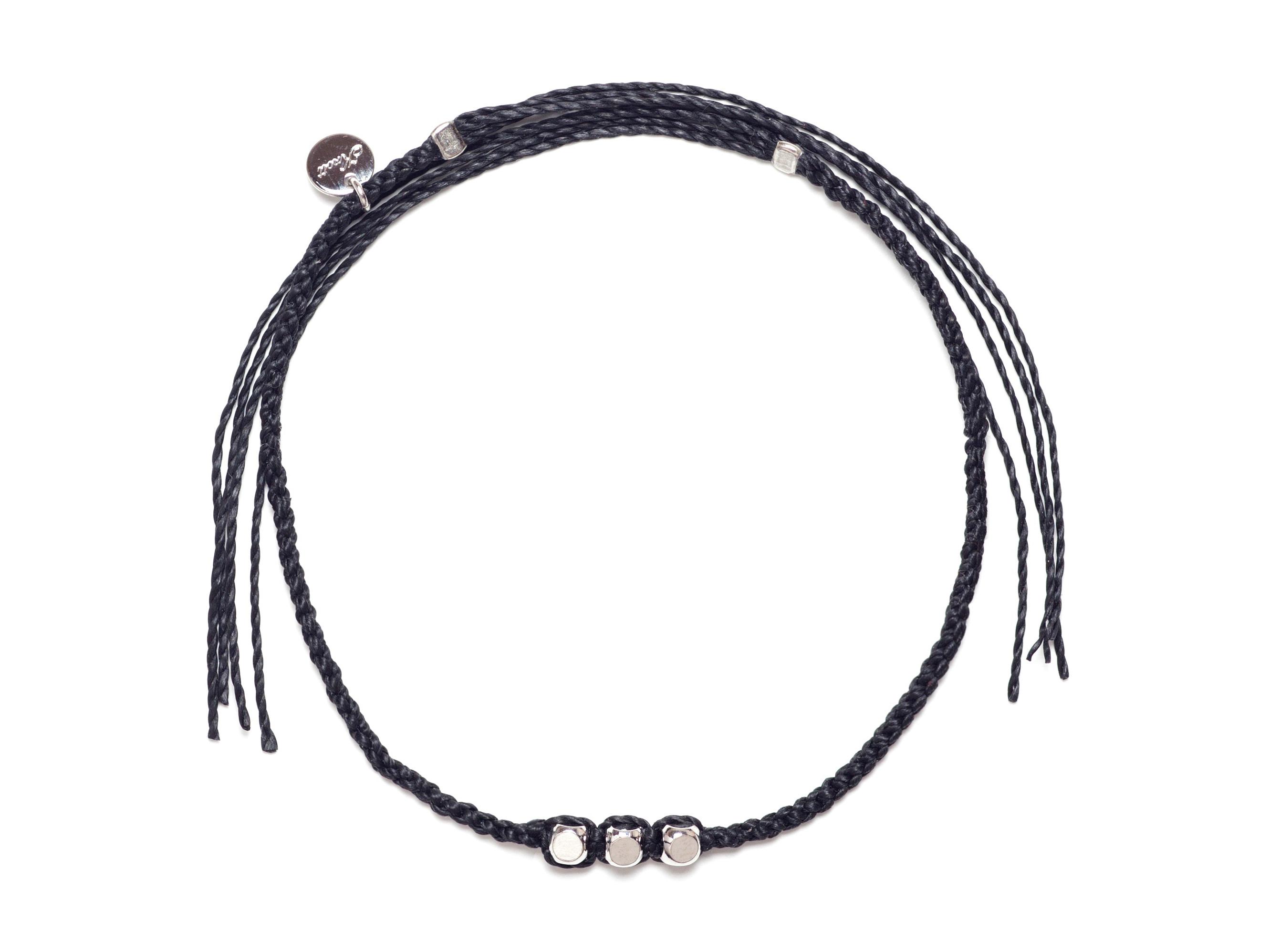 Brass Beads Misanga/Black×Silver (Bracelet/Anklet) [真鍮ビーズミサンガ]