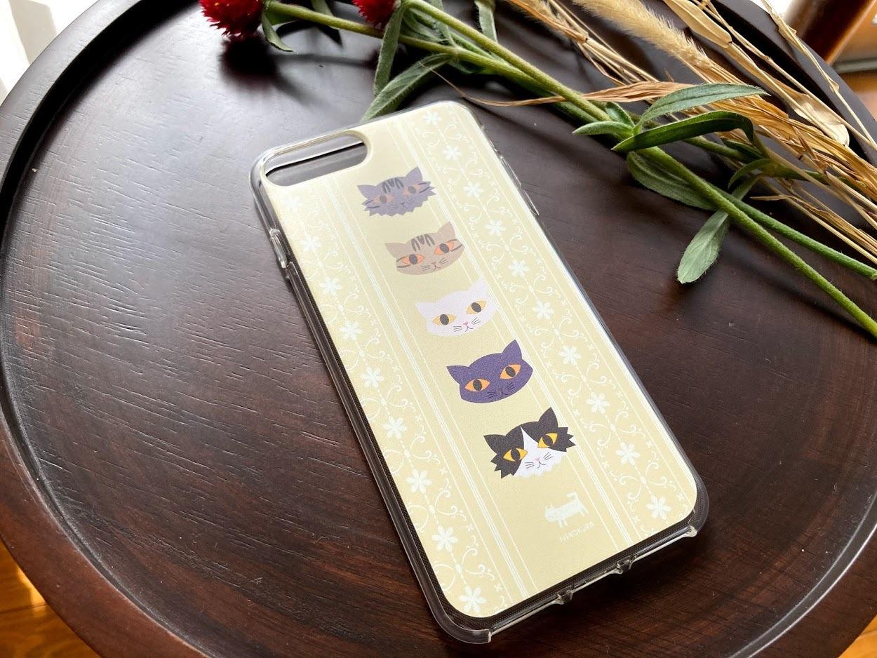 猫たち(イエロー) iPhone7Plus/iPhone8Plus用ソフトケース・クリア