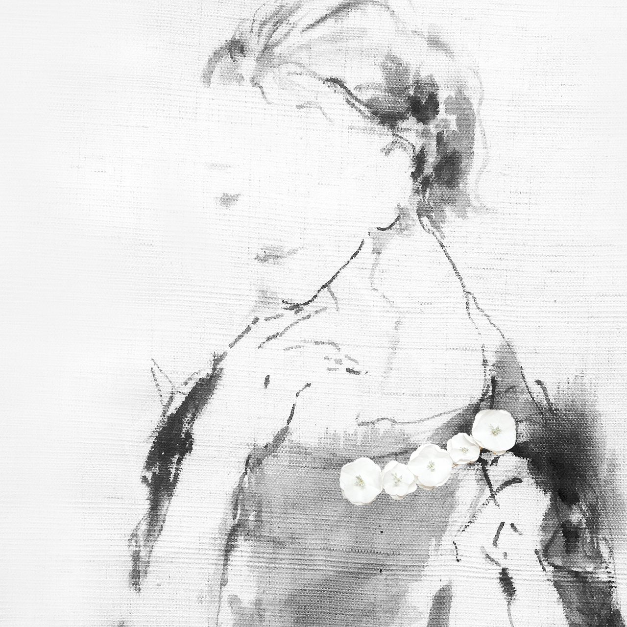 麻のブローチ 〈Romantic〉White
