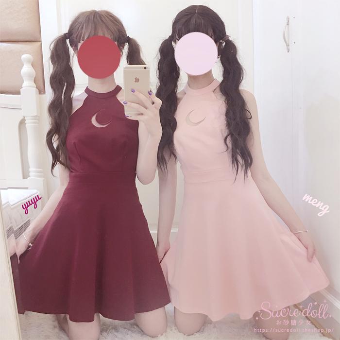 [2color] 月と星のワンピースドレス