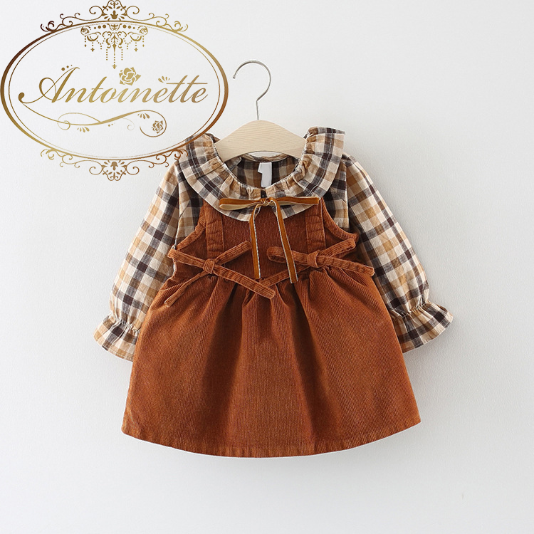 Cotton Infantil Baby Autumn 0-3 Years Old Girls Fashion Plaid Strap Long Sleeve Shirt Sling Skirt Two Piece Clothing Suit
