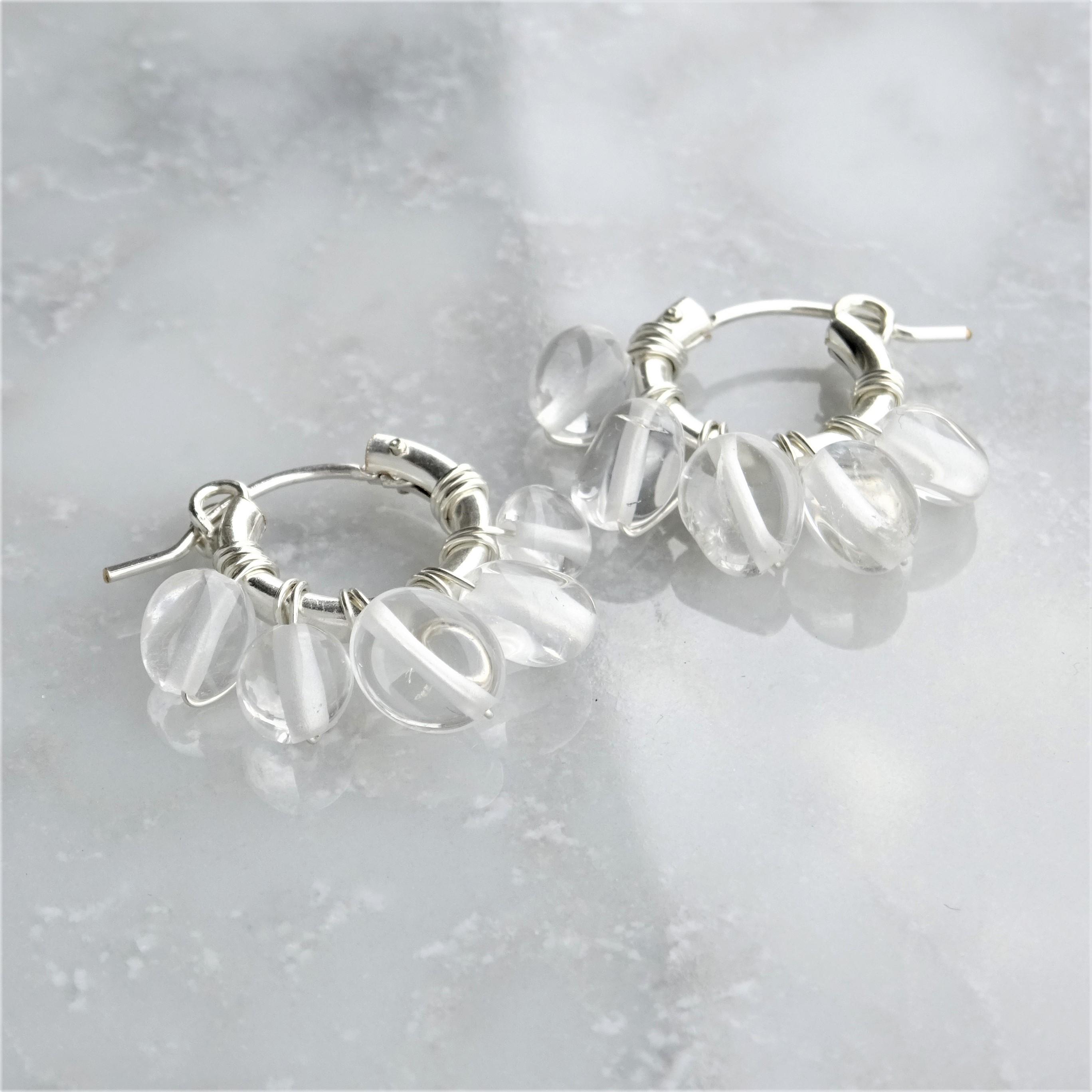 送料無料SV925SF*Crystal Quartz fringe wrapped pierced earring / earring