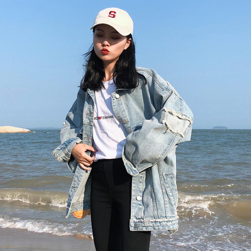 【送料無料】 こなれジャケット♡ オーバーサイズ ルーズ デニム ジャケット ダメージ 古着風