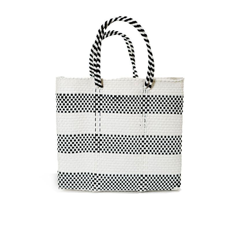 MERCADO BAG BORDER2-White x Black (S)