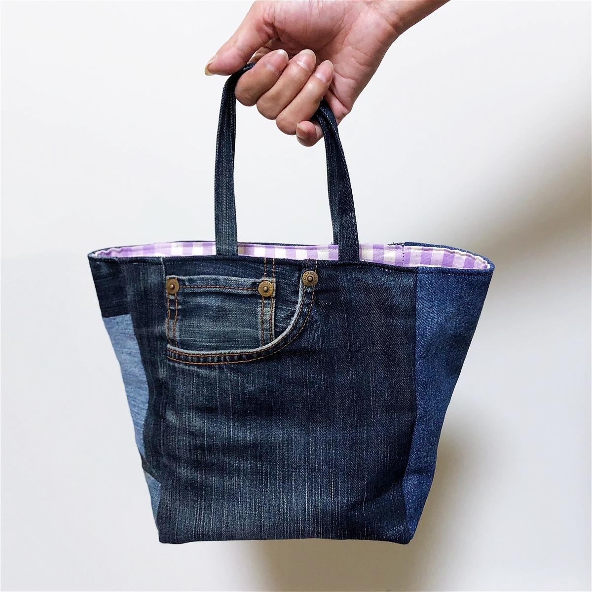 トートバッグ ミニ リメイクデニム ちょっとそこまでお出かけサイズ 芯あり 内布あり