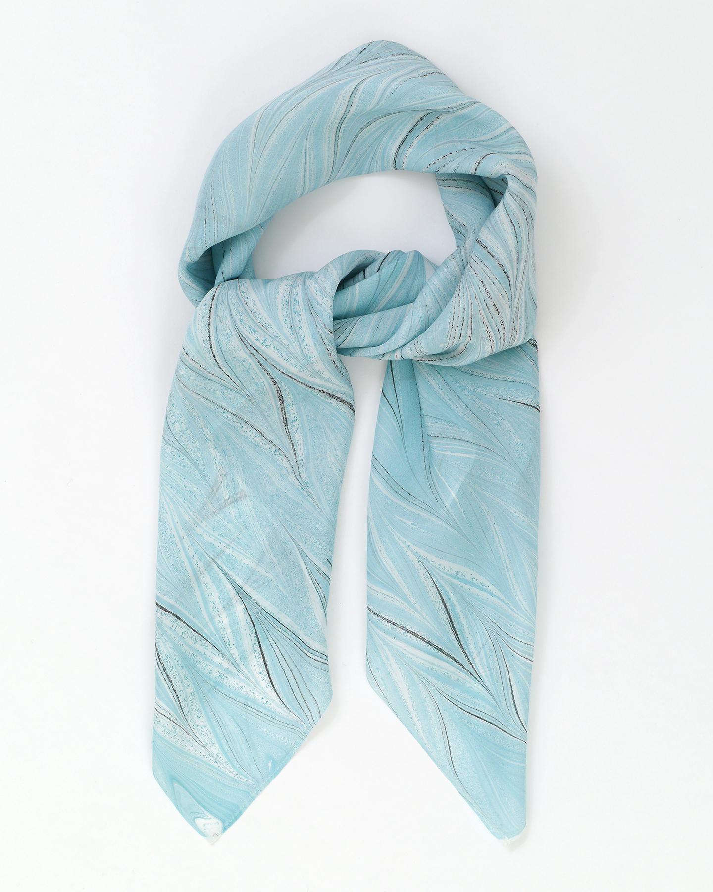 墨流しスカーフ/矢羽根