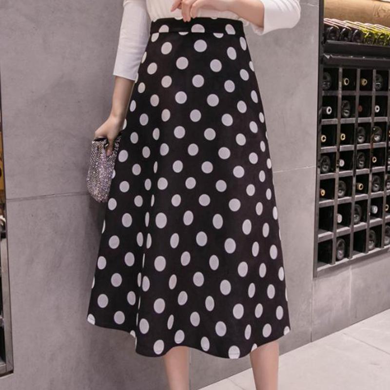 【ボトムス】ファッションドット柄膝下丈Aラインスカート