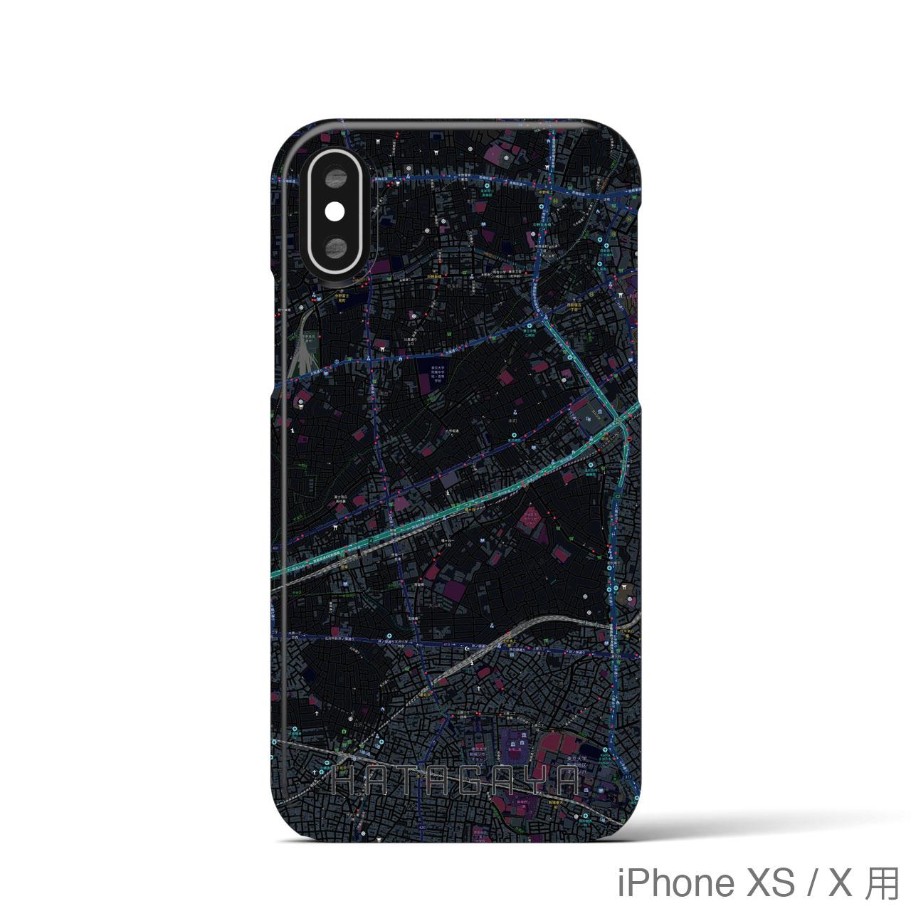 【幡ヶ谷】地図柄iPhoneケース(バックカバータイプ・ブラック)