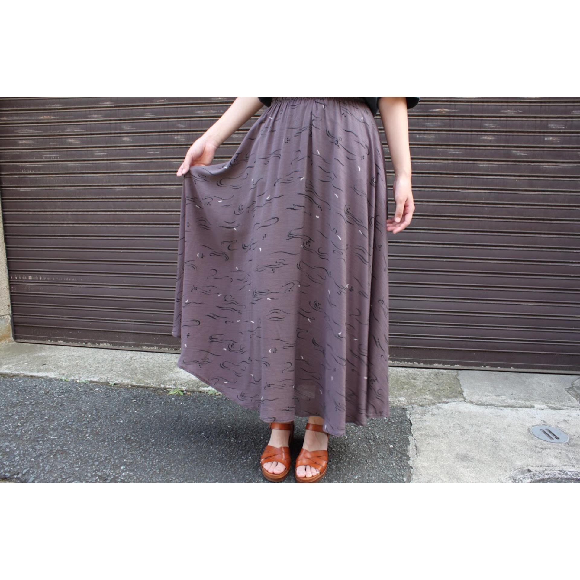 Vintage printed circular skirt