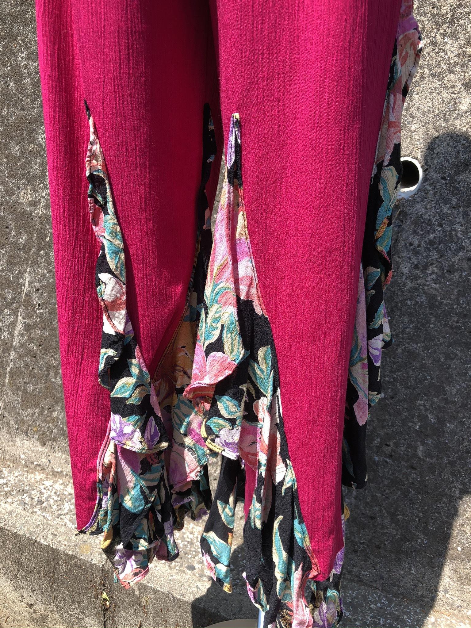 vivid pink remake frill pants
