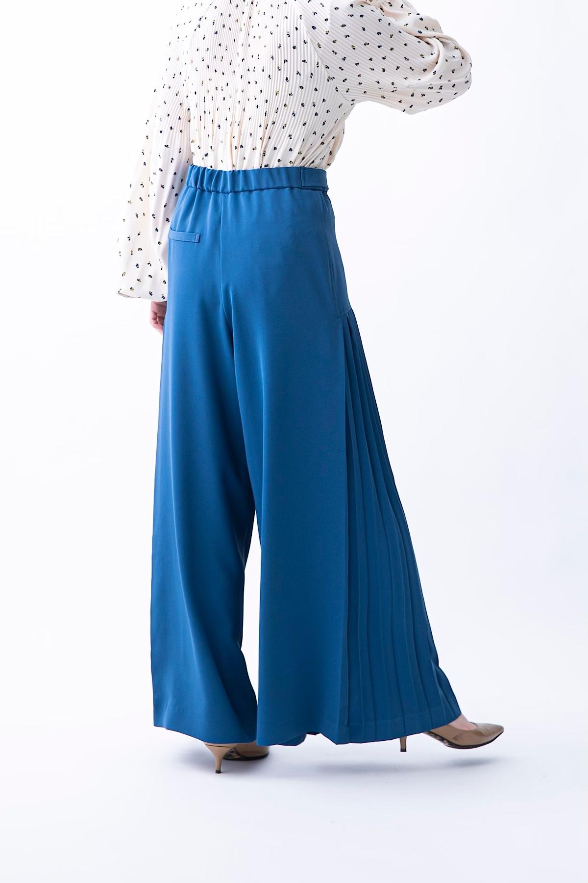 プリーツパンツ 3色:ブルー