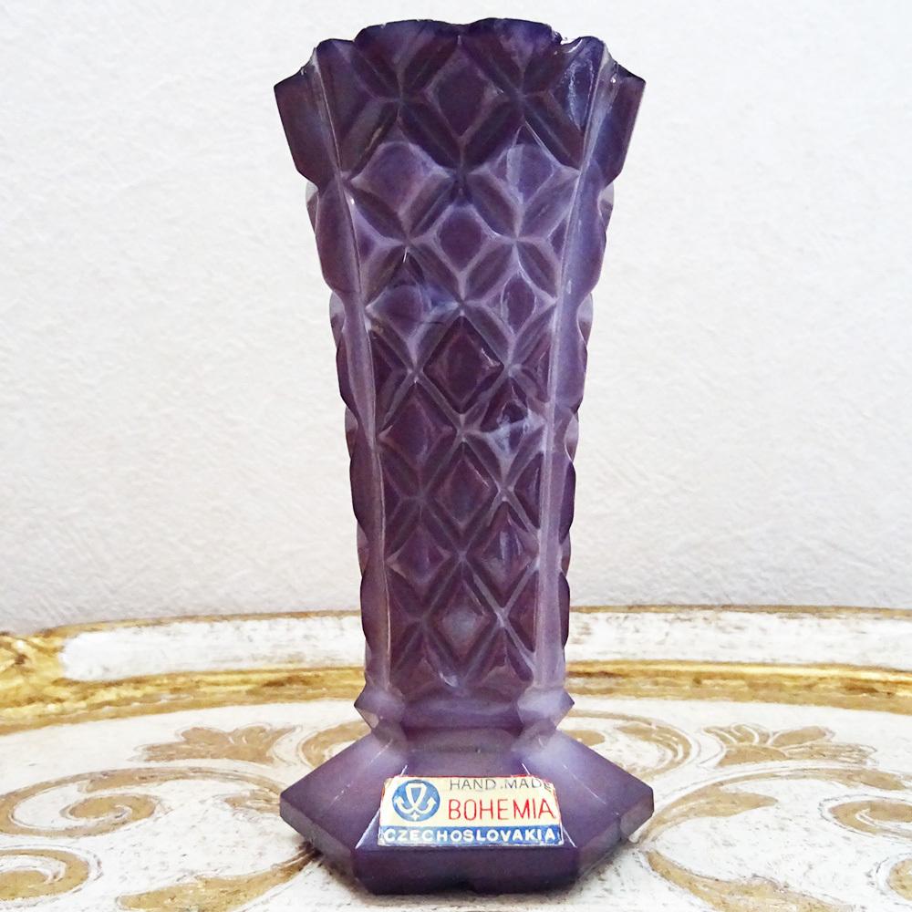 チェコスロバキア ボヘミアガラスの花瓶 / パープル
