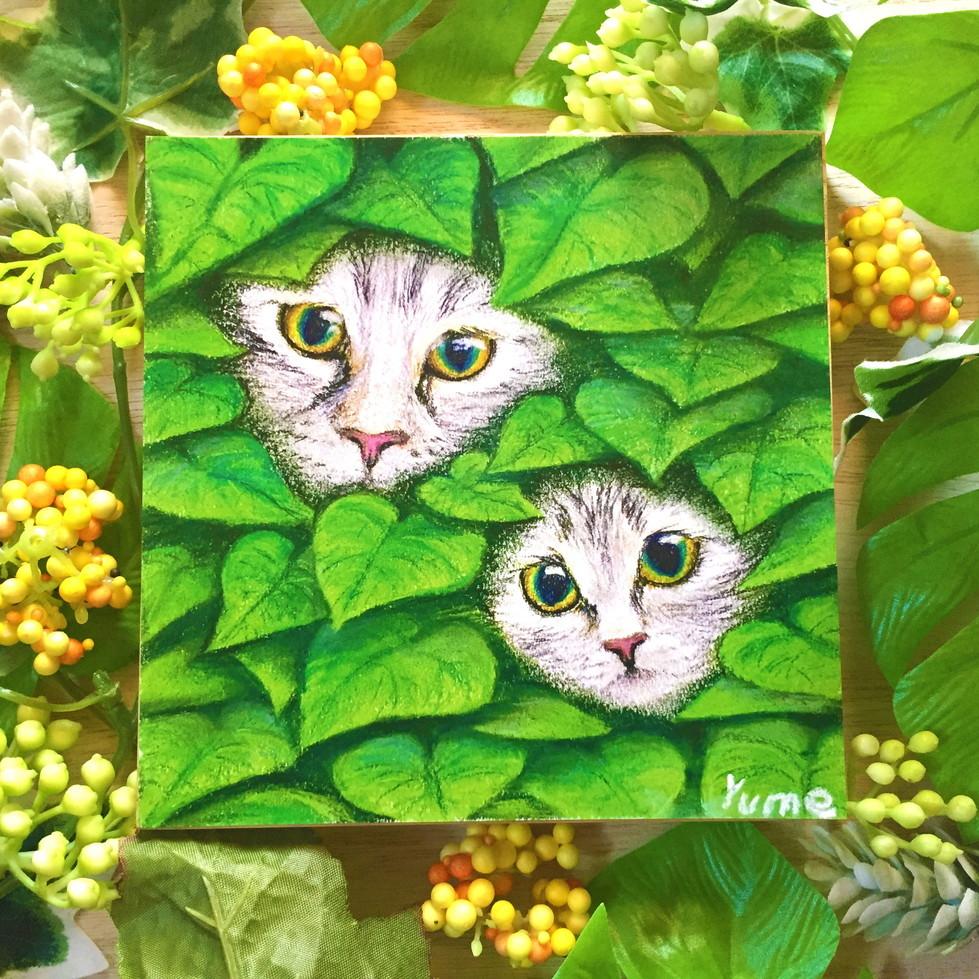 絵画 インテリア アートパネル 雑貨 壁掛け 置物 おしゃれ 猫 親子 動物 パステルアート ロココロ 画家 : ゆめの 作品 : 猫の親子