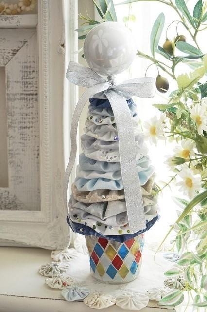 ★可愛いヨーヨーキルトで作るクリスマスツリー★ブルーA