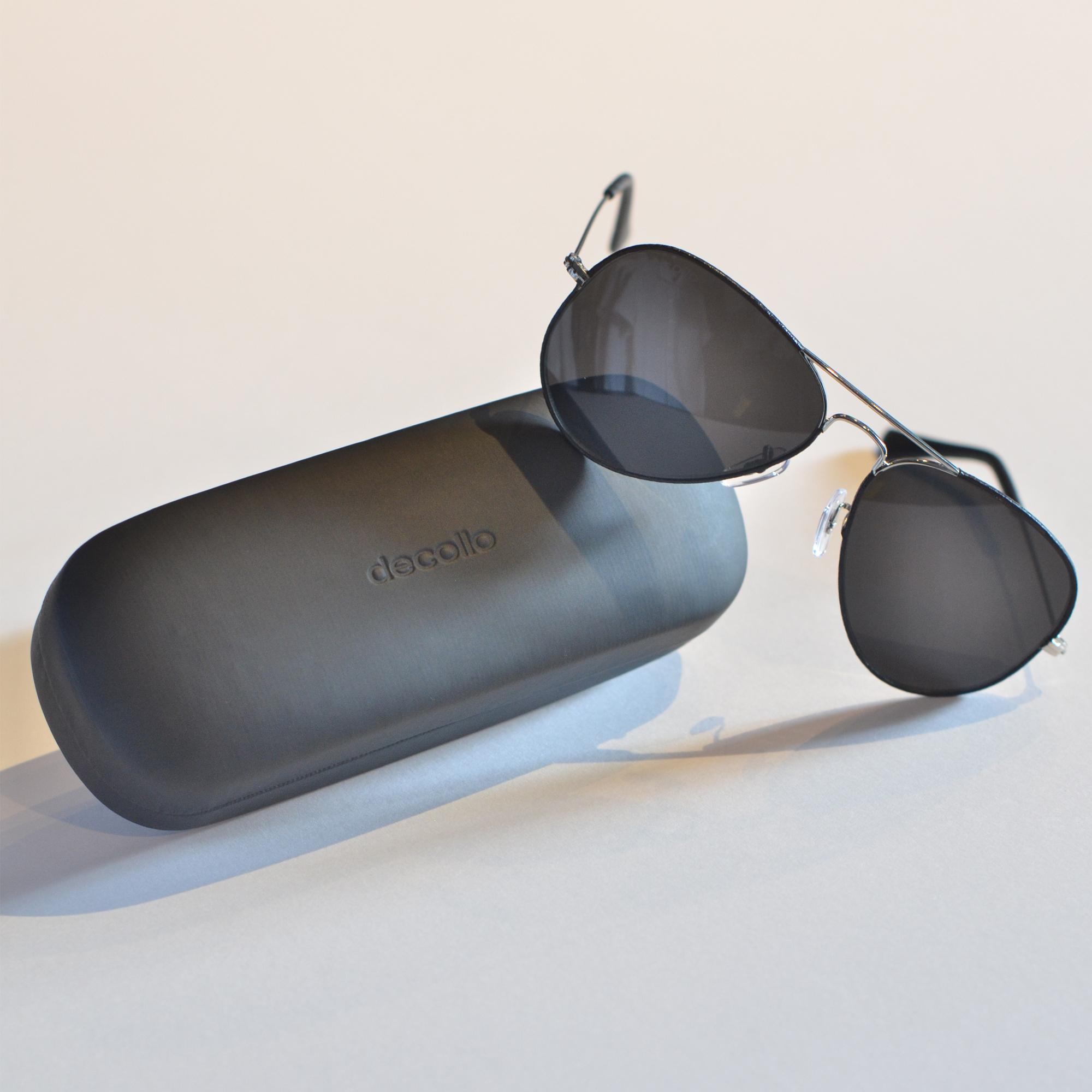 DLA-J05 decollouomo ティアドロップサングラス ブラックスモーク/ブラックレザー