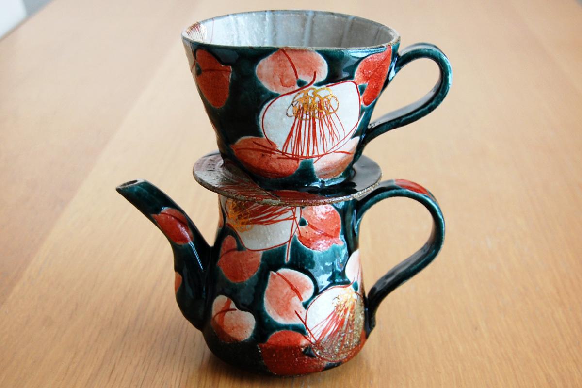 ドリッパー&ポット 釉彩椿