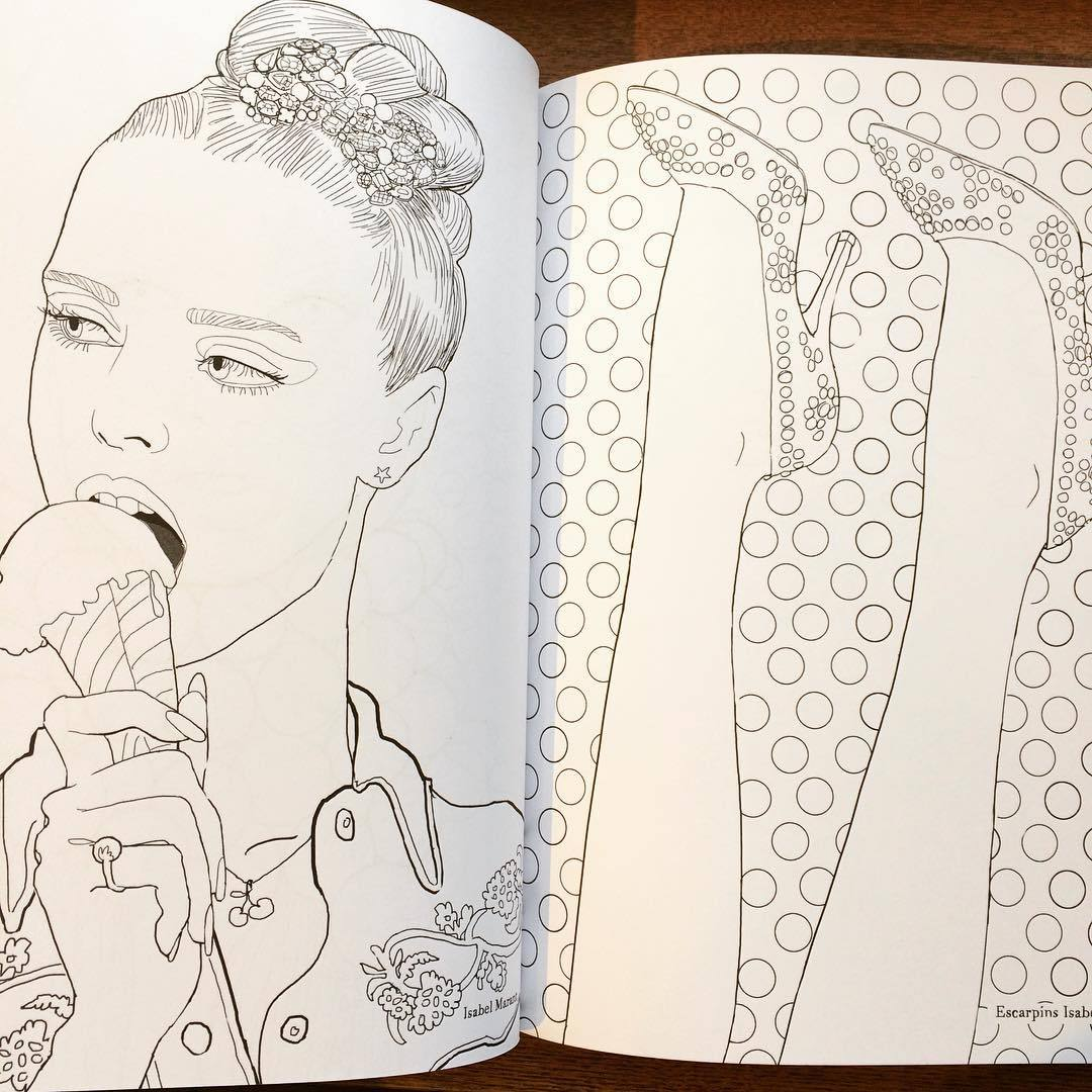 マリー・ペロン 塗り絵イラスト集「My fashion coloriages/Marie Perron」 - 画像2