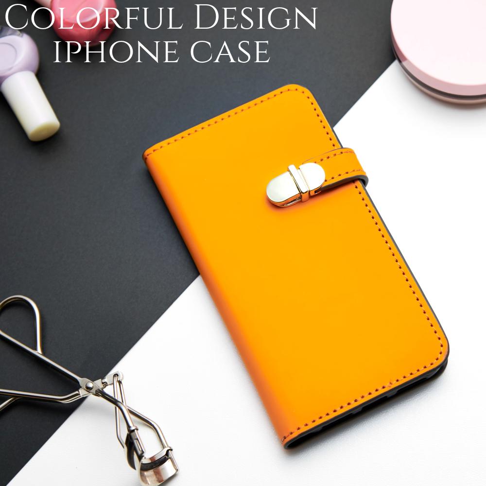 8f5c18d661 iphoneケース 手帳型 ミラー付き iphonexr iphonexs iphone8 iphone7 スマホケース シンプル かわいい おしゃれ  大人可愛い スタンド レディース オレンジ