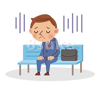 イラスト素材:ベンチに座って落ち込んでいるビジネスマン(ベクター・JPG)