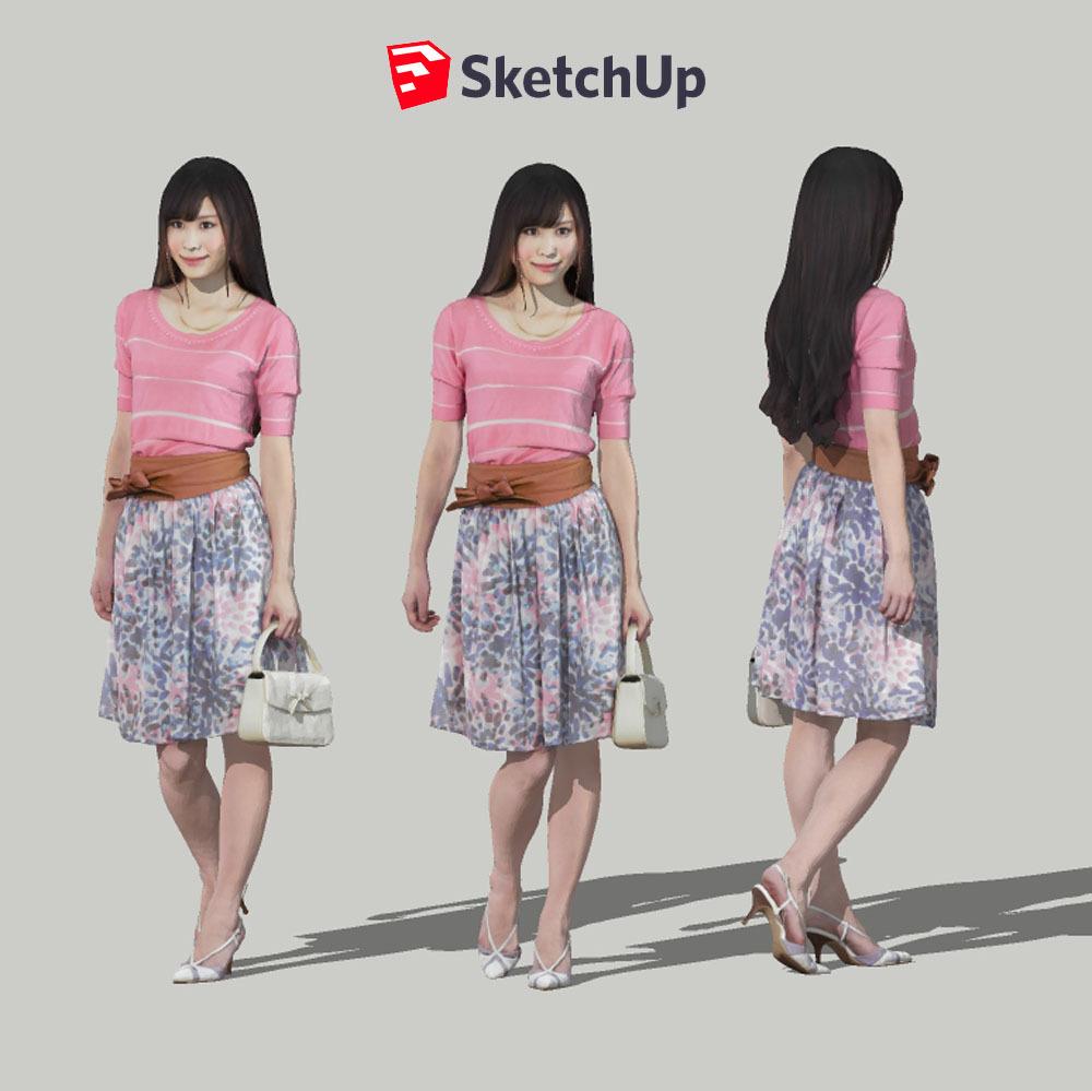 SketchUp素材 3D人物モデル ( Posed ) 077_Yui - 画像1