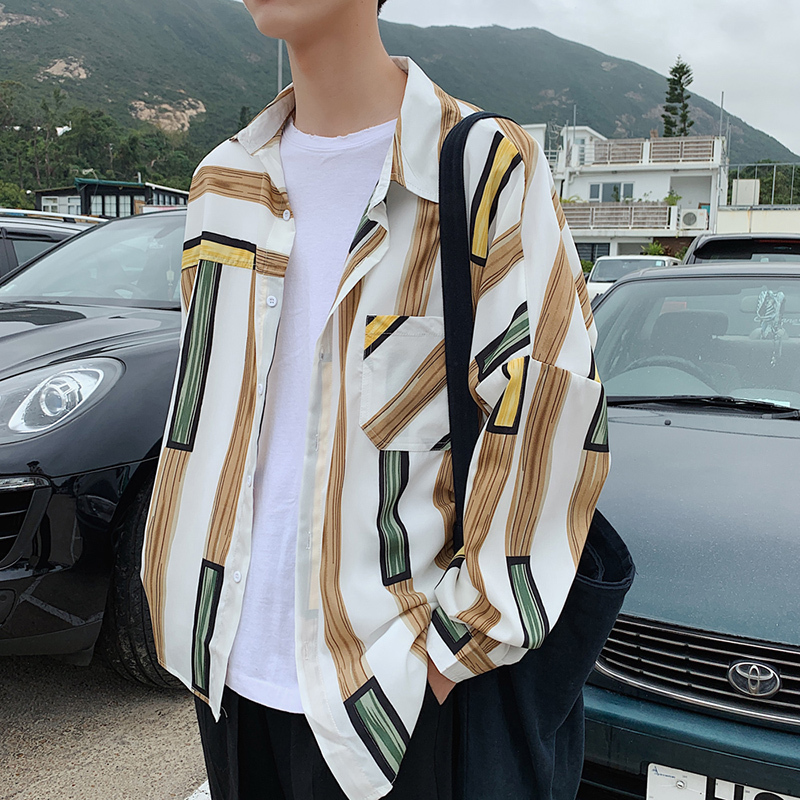 カジュアルチェックラインデザインシャツ 韓流ファッション